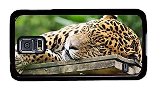 Hipster carrying Samsung Galaxy S5 Case Sleeping Jaguar PC Black for Samsung S5