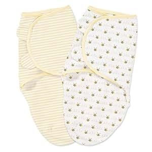 Summer Infant SwaddleMe 2 Piece Adjustable Infant Wrap, Bee Lining, Small/Medium