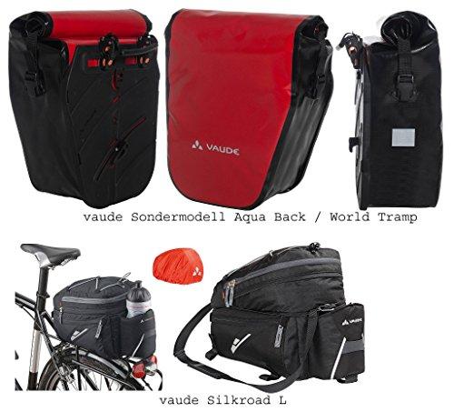vaude Aqua Back SINGLE Radtasche Sondermodell (1 Stück) - Farbe red + vaude Silkroad L Gepäckträgertasche