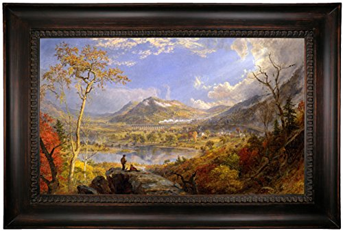 Historic Art Gallery Starrucca Railroad Viaduct, Pennsylvania 1865 by Jasper Francis Cropsey Framed Canvas Print, 19