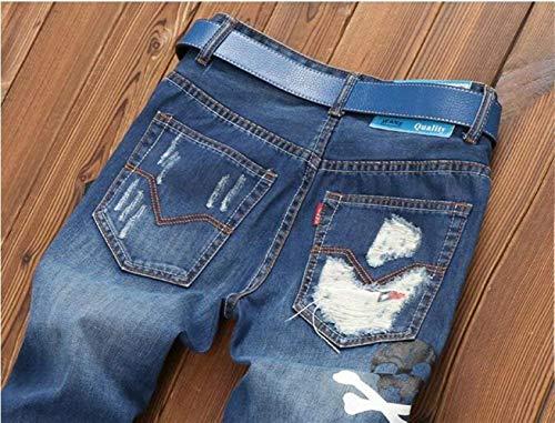 Pantaloni Denim Slim Moda Jeans Strappati Blau Uomo Elasticizzati Vintage Da Abbigliamento Fit ddqwzIr