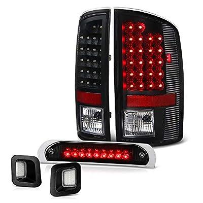 VIPMOTOZ Black Housing LED Tail Light + Third Brake Stop Lamp + Full-LED License Plate Lamp Assembly Replacement Bundle For 2003-2006 Dodge RAM 1500 2500 3500 Pickup Truck