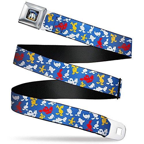 Buckle-Down Men's Seatbelt Belt Donald Duck Kids, Donald Duck Face Scattered Blue, 1.0