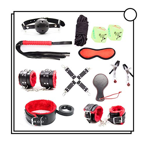 10 Pcs Cosplay Leather Costume Set with 2 Dice(Black&Red) -