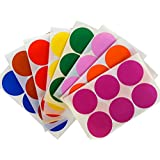 "Round 2"" inch Sticker 50mm dot labels - Colored Circle Stickers - Permanent Adhesive - two inches Label Rounds in Red, Blue, Green, Yellow, Purple, Orange, Brown and Pink - 384 pack"