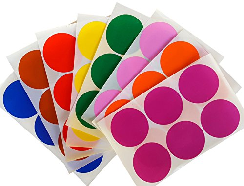 "Round 2"" inch Sticker 50mm dot labels - Colored Circle Stickers - Permanent Adhesive - in assorted 8 colors Red, Blue, Green, Yellow, Purple, Orange, Brown and Pink - 192 pack"