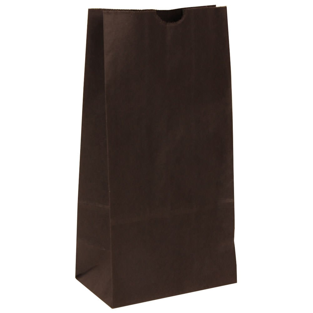JAM Paper Lunch Bags - Small - 4 1/8'' x 8'' x 2 1/4'' - Black Kraft - 500/Pack