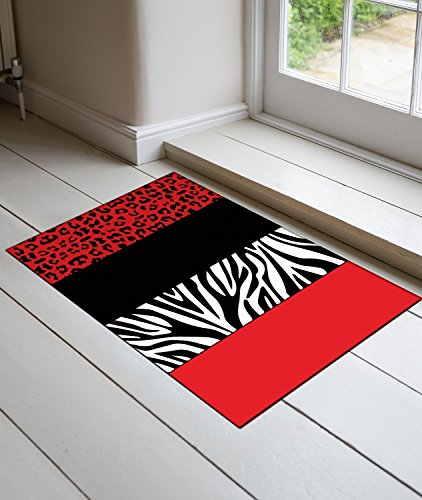 DaringOne Red Leopard And Zebra Animal Print DOORMAT Entry Way Home Decor doormat 15.7x 23.6inch by DaringOne