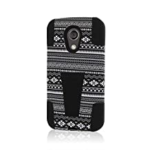 Motorola Moto G Case (2nd Gen 2014), MPERO IMPACT X Series Dual Layered Tough Durable Shock Absorbing Silicone Polycarbonate Hybrid Kickstand Case for Moto G (2nd Gen 2014) [Perfect Fit & Precise Port Cut Outs] - Black Aztec