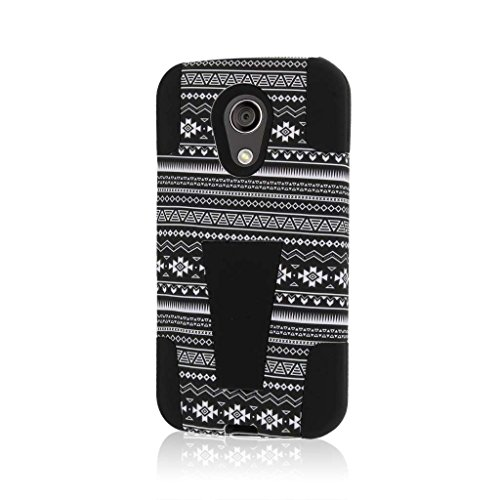 Motorola Moto G (2nd Gen 2014) / Moto G EXT Case - Black Aztec, MPERO IMPACT X Series Dual Layered Tough Durable Shock Absorbing Silicone Polycarbonate Hybrid Kickstand Cover (Moto G Ext Accessories)