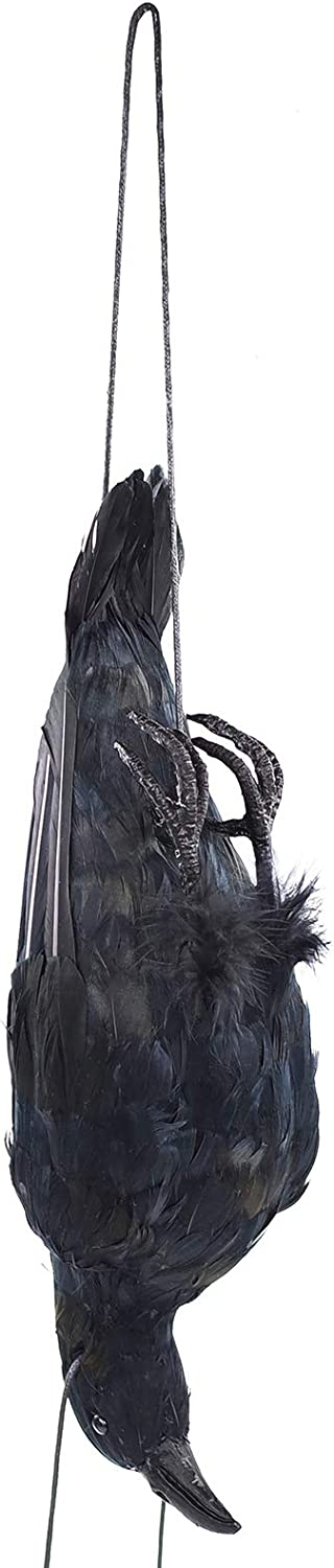 17 inch Realistic Hanging Dead Crows Decoy Lifesize Extra Large Black Feathered Scare Deterrent Crow