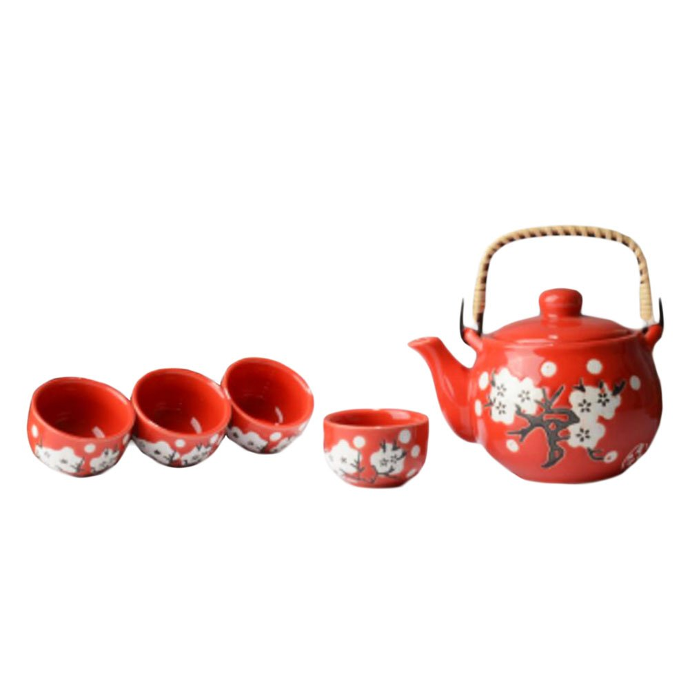 Style de Porcelaine Japanese Tea Set Exquisite Plum Blossom Service à thé rouge Black Temptation