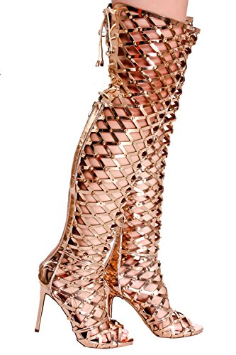 LOLLI COUTURE PU LEATHER OPEN TOE CUTOUT STYLE STUDS ACCENT BACK ZIPPER WITH LACE UP STRAP DESIGN OVER THE KNEE STILETTO HIGH HEEL BOOTS SHOES Rosegold-squre E8ni8KAtt