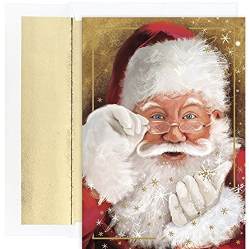 Masterpiece Studios Holiday Collection Boxed Cards, Sparkling Santa, 18 Cards/18 Foil-Lined Envelopes (Santa Holiday Card)