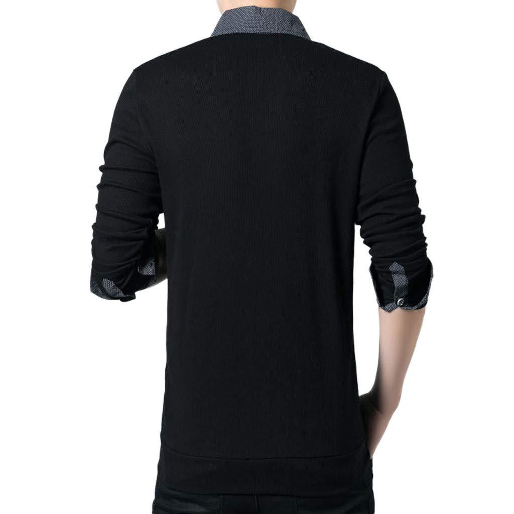 Men T Shirt T-Shirt, Men Button Shirt Business Long Sleeve Top Blouse Black Formal Top Party Wedding Shirt YOcheerful(Black,M) by YOcheerful (Image #3)