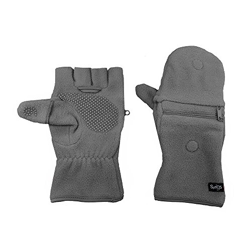 Multi Mitt Fingerless Gloves With Adjustable Top & Cell Phone Pocket - Gray ()