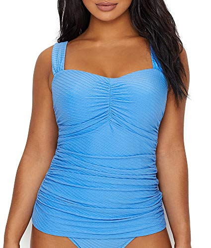 Profile by Gottex Women's Sweetheart Cup Sized Tankini Top Swimsuit, Ribbons Bondi Blue, 38D