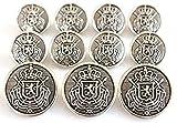 YCEE 11 Pieces Antique Silver Toned Metal Blazer Button Set - Heraldic Lion Crest - For Suits, Sport Coat, Uniform, Jacket