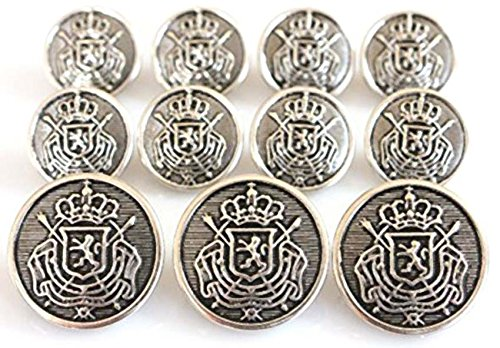 (YCEE 11 Pieces Antique Silver Toned Metal Blazer Button Set - Heraldic Lion Crest - For Suits, Sport Coat, Uniform, Jacket )