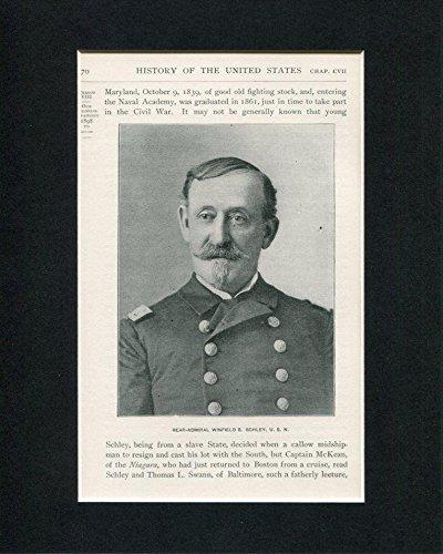 Rear Admiral Winfield Schley Spanish American War Original Book Photo Display