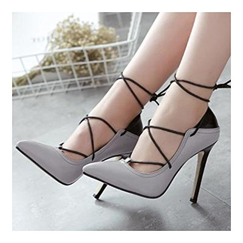 cut Color up Lace 38 grey Thin Shoes Cross Thin Pointed High Chromatic Low Heel p84xqCqUw