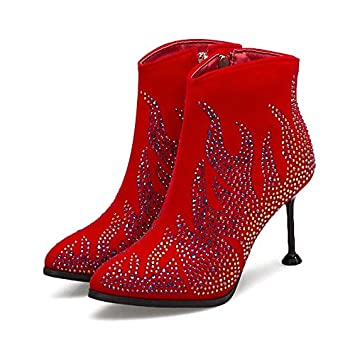 Women's Shoes Suede Fall & Winter Fashion Boots Boots Stiletto Heel Pointed Toe Booties/Ankle Boots Rhinestone/Sparkling Glitter Black/Red / Wedding/Party & Evening