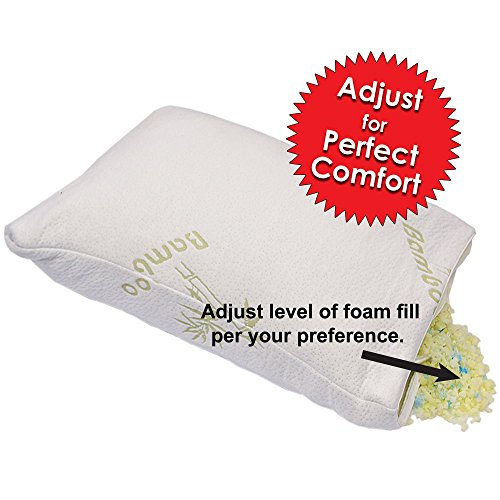 babymommy Bamboo ADJUSTABLE Shredded Memory Foam Pillow - FIRM - Micro-Vented Cover with Zipper Hypoallergenic and...