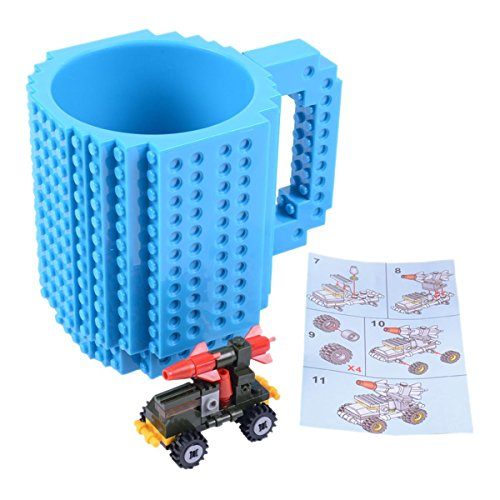 Build-On Brick Mug Coffee Cup DIY Type Plastic Creative Building Blocks Coffee Tea Beverage Drinking Funny (Diy Drinking Games)