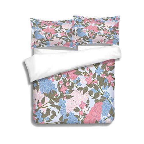 MTSJTliangwan Duvet Cover Set Pink and Blue Lilac Garden Seamless Pattern 3 Piece Bedding Set with Pillow Shams, Queen/Full, Dark Orange White Teal ()