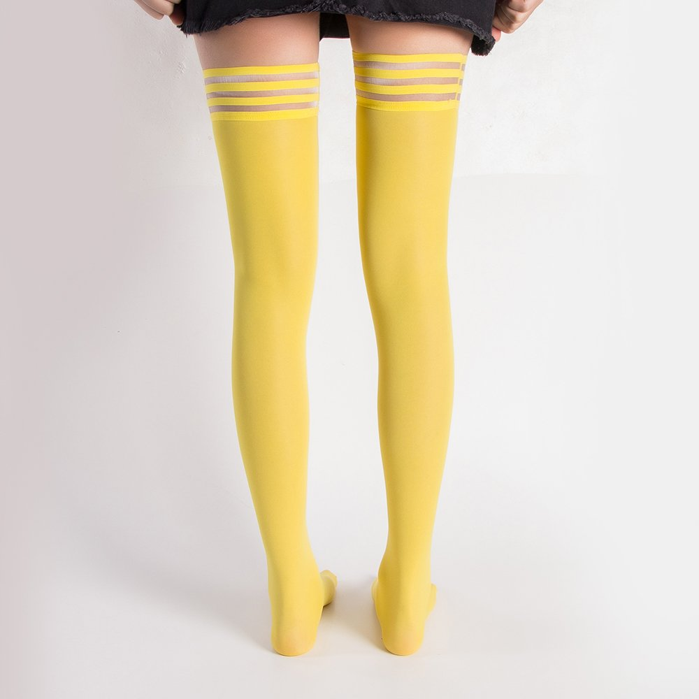 4 Pair Women's Antiskid Silicone Lace Top Opaque Thigh High StockingsBright yellowB by Eabern (Image #4)