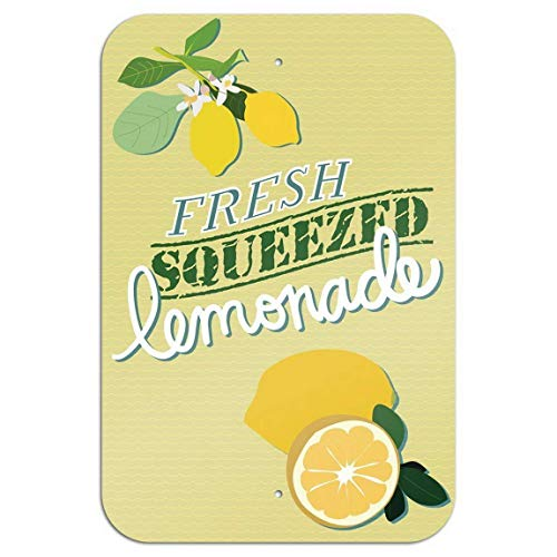 A Homim Tin Signs Fresh Squeezed Lemonade Novelty Aluminum Metal Sign Large 8 X 12 Inch Art Poster Shop