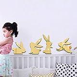 Heying Lovely Peter Rabbit Creative Acrylic Mirror Wall Sticker, Smart Bunny Mirror Murals &Decals For Sitting Room Bedroom Kids Nursery Room Rall Decoration Kids Gift (Gold Mirror)