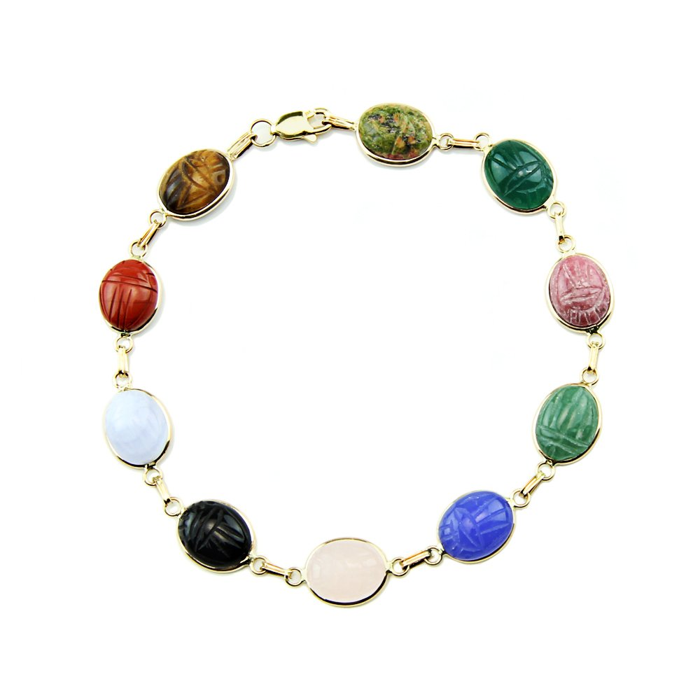 14k Yellow Gold Scarab Bracelet with Small Oval Gemstones 7.25 Inches