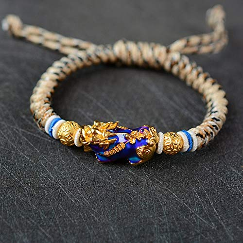 (Novel Gold Color Temperature Change Lucky Brave Troops Braided Rope Energy Bracelets   for Men)