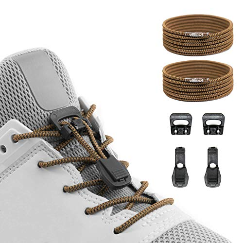 Xpand Quick Release Round-Lacing No Tie Shoelaces System with Elastic Laces - One Size Fits All Adult and Kids Shoes -