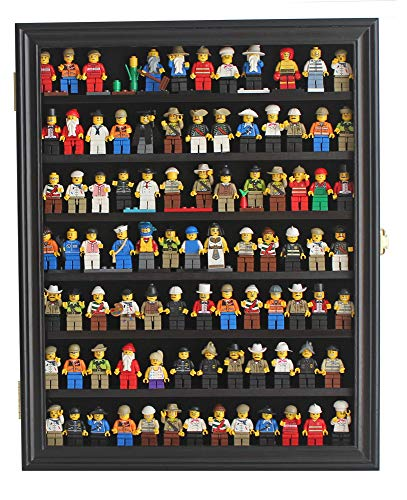 Black Finish Solid Wood - Minifigures Display Case Wall Thimble Cabinet Shadow Box, Solid Wood (Black Finish)