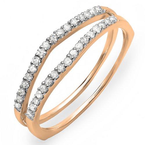 Dazzlingrock Collection 0.25 Carat (ctw) 14K Round White Diamond Ladies Anniversary Enhancer Guard Matching Wedding Band 1/4 CT, Rose Gold, Size 7