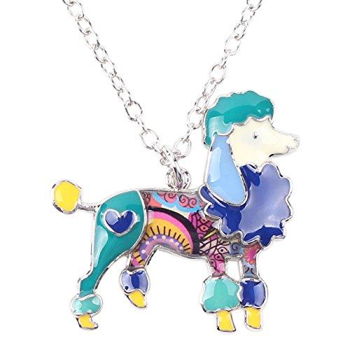 Poodle Jewelry (BONSNY Love Heart Enamel Zinc Alloy Metal Poodle Puppy Dog Necklace Pendant PETS Women Jewelry (Blue))