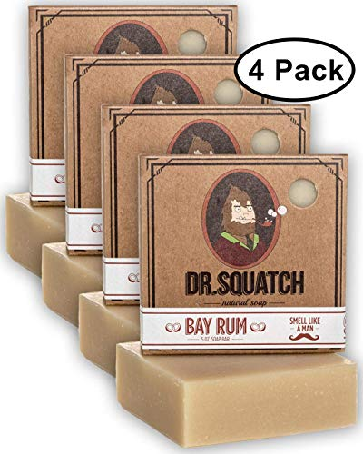 Dr. Squatch Bay Rum Soap 4-Pack Bundle - Men's Naturally Fresh Scented Natural Bar Soap with Bay Rum, Kaolin Clay, Shea Butter - Organic Handmade in USA