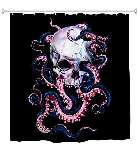 Skull Octopus Shower Curtain Decor,Marine Kraken Sea Monster Tentacle Through Skeleton's Eyes Halloween Art Black Fabric Bathroom Curtains,Waterproof Polyester Bath Curtain Set with Hooks 70x70 -