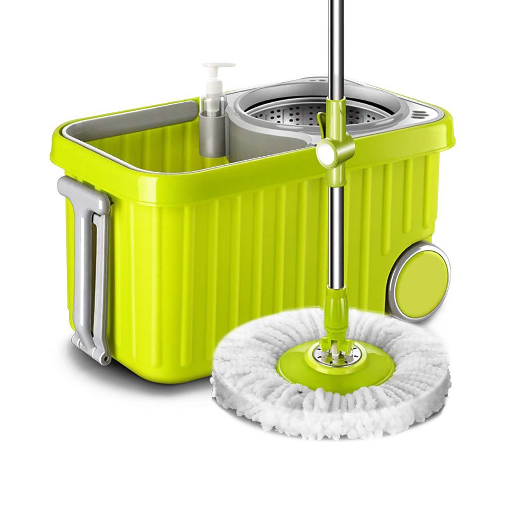 フロアモップワイパー 回転モップ、360°回転モップヘッド、ハンドフリー洗濯、洗濯と乾燥、(マイクロファイバー) B07L8FC2B6