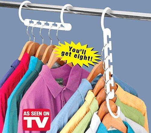8 Space Saving Coat Hangers Wonder Hanger Colour: White: Amazon.