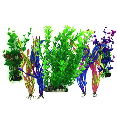 Artificial Aquatic Plants, PietyPet 7 Pcs Large Aquarium Plants Plastic Fish Tank Decorations, Vivid Simulation Plant Creature Aquarium Landscape, Red Purple by Pietypet