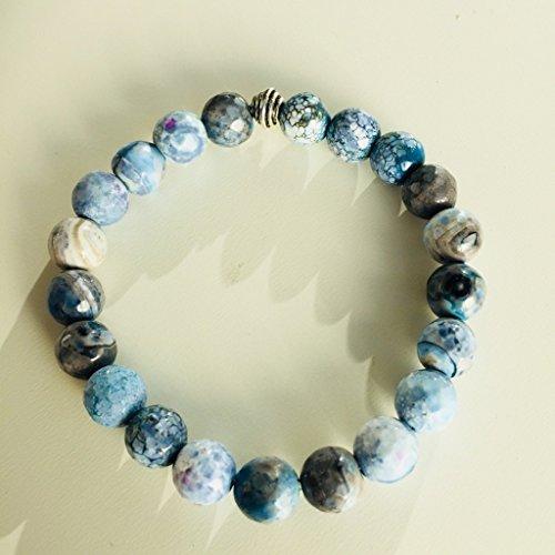 Stone Precious Agate Semi (NILE NATURAL BLUE AGATE SEMI PRECIOUS GEMSTONE 7mm ROUND BEADS STRETCH BRACELET 7