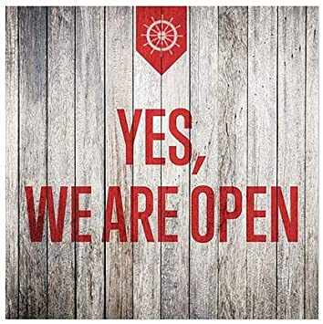 5-Pack CGSignLab |Yes | 30x20 We are Open -Stripes White Window Cling