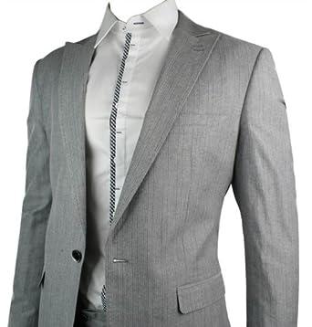 Mens Slim Fit 1 Button Light Grey Striped Blazer Smart Casual Office