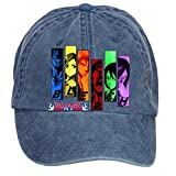 Jidlg Custom Washed Mens Cotton Bleach All Characters Anime Stencil Poster Adjustable Baseball Caps Navy