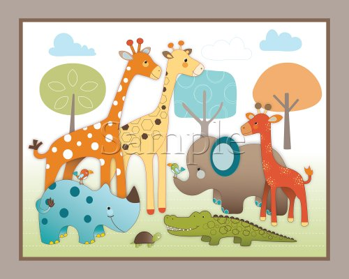 Giraffe Safari, Jungle Animals Nursery Wall Art, Decor. Kids Bedroom Decor (11