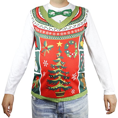 Faux Real Unisex Ugly Christmas Sweater Vest Bow Tie Long Sleeve T-Shirt Fake Unisex Adult (Sweater Vest Tie)