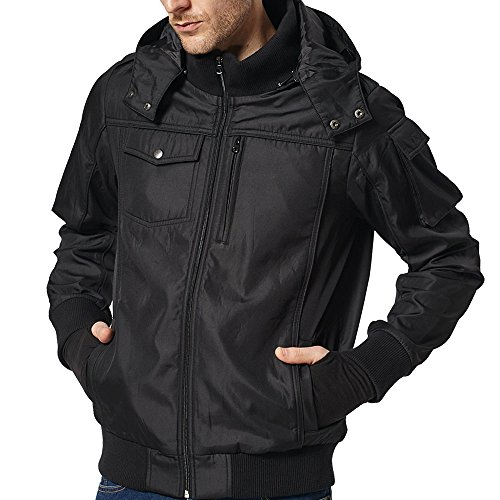 BOMBAX Travel Jacket Men,10 Pockets Windbreaker Flight Bomber Jacket & Coats Black